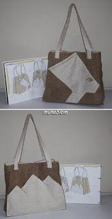 Nefertiti: Borsa modello shopping in juta e tessuto misto lino-cotone