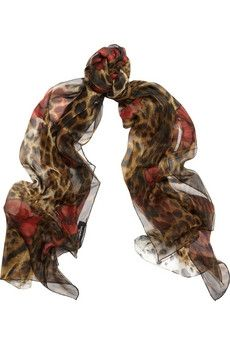 Yves Saint Laurent|Leopard and poppy-print silk scarf|NET-A-PORTER.COM - StyleSays