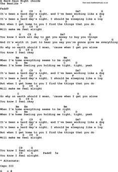 Song Lyrics with guitar chords for A Hard Days Night