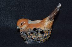 Bird Shaped Planter, Bird Potpourri Holder, Figural Bird Vase, Bird Ceramic Pot, Bird and Grapes Motif, Bird Theme Decor, Ventilated Planter by FabulousVintageStore on Etsy