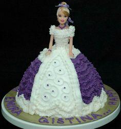 Purple & white doll cake