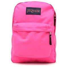 Jansport Superbreak Pink School Backpack (€33) ❤ liked on Polyvore featuring bags, backpacks, jansport rucksack, backpacks bags, jansport, pink bag and pink backpack