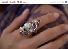 ON SALE Cocktail ring made of  purple Amethyst stones and pearls - 925 sterling silver ring