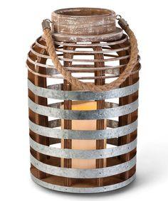 Everlasting Glow Distressed Wood & Galvanized Metal Strip Lantern   zulily