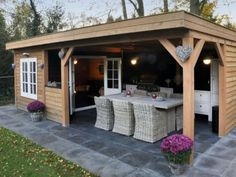 With attached garden shed Backyard Storage Sheds, Backyard Sheds, Backyard Landscaping, Backyard Bar, Backyard Retreat, Outdoor Rooms, Outdoor Living, Pool Shed, Garden Buildings