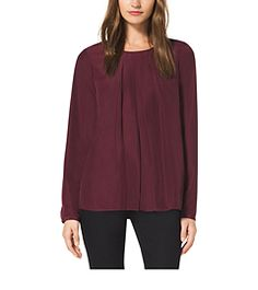 Pleated Crepe Blouse by Michael Kors