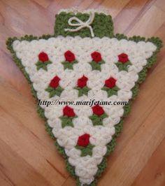 Baby Knitting Patterns, Crochet Potholder Patterns, Crochet Squares, Crochet Animals, Crochet Toys, Knit Crochet, Crochet Round, Filet Crochet, Crochet Christmas Trees