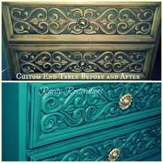 Custom end table before and after Rarity, End Tables, Restoration, Decorative Boxes, Furniture, Home Decor, Mesas, Decoration Home, Room Decor