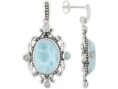 VMH039  Oval Cabochon Larimar and Round Glacier Topaz Sterling Silver earrings