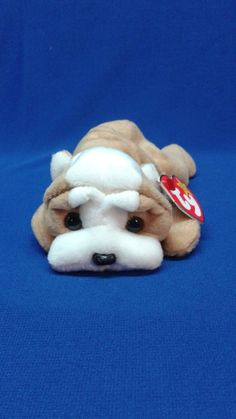 WRINKLES the DOG Ty Original Beanie Baby light brown white fur rare retired collectible Ty Animals, Plush Animals, Stuffed Animals, Rare Beanie Babies, Original Beanie Babies, Ty Babies, Baby Dogs, Justice Toys, Ty Plush