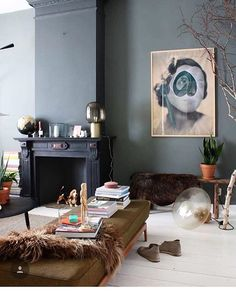 Sunday Inspiration - Gravity Home Eclectic Fireplaces, Home Living Room, Living Spaces, Interior Styling, Interior Design, Gravity Home, Piece A Vivre, Interior Exterior, Interior Inspiration