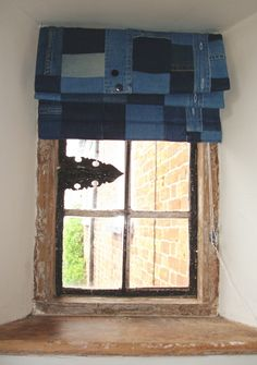 Patchwork denim blinds for boy's bedroom. by Meryl at Vintage Smart