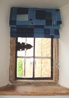 Patchwork denim blinds for boy's bedroom. by Meryl at Vintage Smart