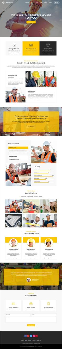dConstruction is clean and modern design responsive #Adobe #Muse template for #construction company website download now..