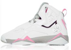 bfbdcff491e02c Jordan true flights white with gray and pink