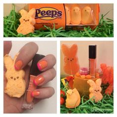 Mani-Monday: A pink sugar-dipped orange marshmallow Peeps Easter manicure