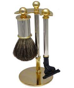 3-piezas de afeitar Set Badger pelo Brocha de afeitar / navaja y Representante Titular del metal