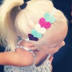 Glitter Heart Headband Felt hearts in glitter pink, cream and mint adorn a…