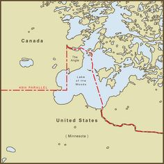 "A Map of ""The Northwest Angle"" Border Between the USA and Canada. It is the only section of the Continental U.S. Border that extends above the 49th parallel, the latitude that marks the majority of the US border with Canada. Even Maine, which optically appears further North on some projections remains south of the 49th Parallel."