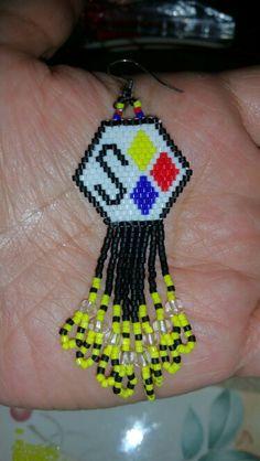 Steelers earrings, Peyote stitch