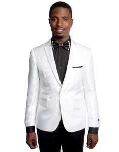 This slim fit paisley blazer features 2 buttons to close, side vents, a ticket pocket, a slim notch lapel. It's sure to be a stunner at any party you are attending. #WhiteJacket #WeddingJacket #PromTux #WeddingTux #Tux #Wedding #Prom #DinnerJacket #Jacket Mens Dinner Jacket, Wedding Jacket, Mens Sport Coat, Blazers For Men, Slim Man, Jacket Style, Blazer Jacket, High Fashion, Paisley