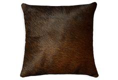 Solid 18x18 Cowhide Pillow, Chocolate on OneKingsLane.com