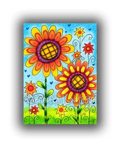 Original ACEO colored pencil drawing - Sunflower Patch - flowers bright garden