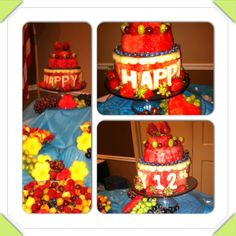 Fruit display with three tier watermelon cake Watermelon Cakes, Foods, Display, Fruit, Desserts, Food Food, Floor Space, Tailgate Desserts, Food Items