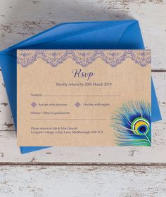 Complete your wedding invitation suite with this peacock-inspired RSVP card, with a rustic background and eye-catching colour. Garden Party Invitations, Blue Wedding Invitations, Wedding Rsvp, Wedding Stationery, Wedding Cards, Lace Wedding, Wedding Ideas, Wedding Favors Cheap, Diy Wedding Decorations