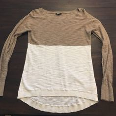 Express long sleeve shirt/sweater Express extra small long sleeve shirt. Colors are light brown and white. Express Tops Blouses