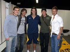 Real Madrid (plus Rafa Nadal)...left to right- Iker Casillas, Raul, Nadal, Sergio Ramos, David Beckham. my favorite futbol players, love me some Spanish hotties. I have seen most of these guys play.