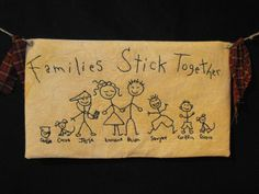 Artsy Craftsy Folks Primitives: Personalized Stick People Primitive Stitcheries - Custom made to your family specifications