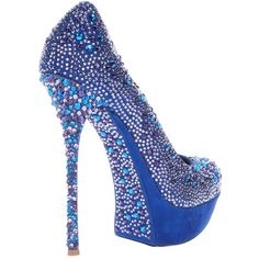 GIANMARCO LORENZI COLLECTOR Crystal embellished pump (€1.195) ❤ liked on Polyvore featuring shoes, pumps, heels, zapatos, sapatos, blue, women, blue shoes, gianmarco lorenzi and heel platform shoes