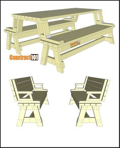 Fold this picnic table to turn it into a set of benches. Includes a free PDF download, instructions, drawings, and measurements. Folding Picnic Table Plans, Diy Picnic Table, Tagaytay, Benches, Pdf, Rooms, How To Plan, Drawings, Free