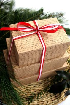 Brown Paper Script Wrap...with red & white ribbon.