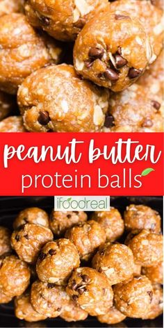 Enjoy these 6 ingredient Peanut Butter Protein Balls as a healthy, nutrient-dense, high-protein snack perfect for breakfast, lunch boxes, or a pre-or post-workout snack. Plus, enjoy a vegan or whey-based version below! Protein Lunch, High Protein Snacks, Protein Ball, Vegan Snacks, Easy Snacks, Easy Healthy Recipes, Healthy Snacks, Easy Meals, Healthy Eating