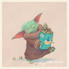 These Illustrations of Baby Yoda Eating Disney Park Snacks Are Out-of-This-Universe Adorable In case you hadn't already noticed: it's Baby Yoda's world, and we're all just living in it. The unbearably cute Mandalorian character, also referred to as The Star Wars Fan Art, Star Wars Baby, Yoda Drawing, Disney Snacks, Heart Art, Disney Art, Cute Wallpapers, Cute Art, Illustration