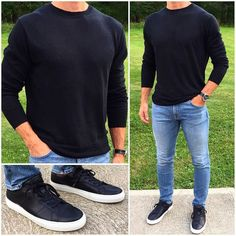 Many times men feel uncomfortable being dressed up thus the off duty look has to be fresh, stylish & comfortable. Here are 10 different casual outfit ideas for men. Stylish Mens Outfits, Casual Outfits, Men Casual, Fashion Outfits, Fashion Men, Black Outfits, Smart Casual, Casual Styles, Casual Winter