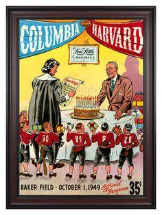 1949 Columbia Lions vs Harvard Crimson 36x48 Framed Canvas Historic Football Poster