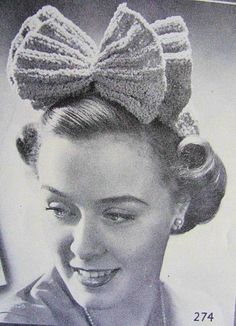 Vintage 1940s Knitted Crochet Hats Pattern