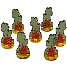 Small Flaming Wreckage Markers (7) Litko Game Accessories