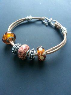 Leather bracelet,  large hole beads.