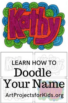 Doodle Name Art · Art Projects for Kids Name Art Projects, Art Education Projects, Art Education Lessons, Classroom Art Projects, Art Projects For Adults, School Art Projects, Art Lessons Elementary, Simple Art Projects, Teen Art Projects