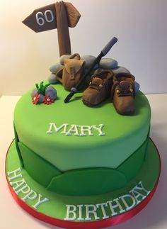 60th Birthday Cake for a lady who loves hill walking #walkingboots #hillwalkingcake #greencake