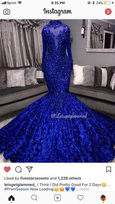 Royal Blue Lace Mermaid Prom Dresses Long Sleeve 3 D Floral Flowers Court Train Party Gowns For Black Gorls · Mulala · Online Store Powered by Storenvy Black Girl Prom Dresses, Mermaid Prom Dresses Lace, African Prom Dresses, Cute Prom Dresses, Prom Outfits, Prom Dresses Long With Sleeves, Homecoming Dresses, Wedding Dresses, Lace Mermaid
