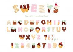 Funny latin alphabet letters and numbers made of ice cream, chocolate, cookies, candies. For kids birthday anniversary or baby shower decoration. Font Design, Design Typography, Lettering Tutorial, Ice Cream Font, Design Fonte, Alphabet Activities Kindergarten, Bullet Journal Font, Design Brochure, School Worksheets