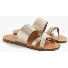 J.Crew Bali Metallic Slides (262.920 COP) ❤ liked on Polyvore featuring shoes, metallic shoes, suede leather shoes, j crew shoes and suede shoes