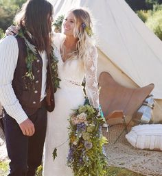 Stunning boho festival wedding with bell tent