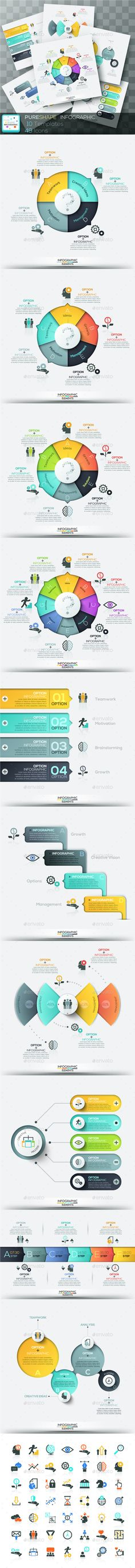 Pure Shape Infographic — Photoshop PSD #layout #template • Available here → https://graphicriver.net/item/pure-shape-infographic/15818237?ref=pxcr