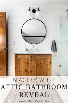 You won't believe this attic bath! Tour a classic black and white bathroom complete with a black clawfoot tub charming angled walls and mixed metal finishes. You won't believe this attic bath! Bathroom Lighting Design, Bathroom Light Fixtures, Bathroom Styling, Bathroom Inspiration, Bathroom Ideas, 1920s Bathroom, Industrial Bathroom, Bathroom Designs, Design Inspiration